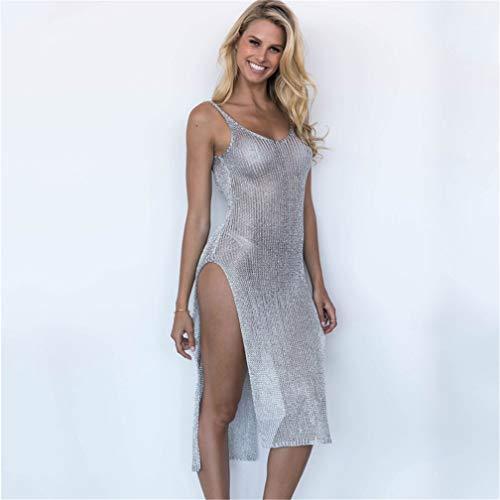 Wuudi Damen Strick Häkelkleid Sexy Strandkleid, Überzug Wickeln Bikini Smock Long Kleid Mesh Strandkleid Tunika Pareo (Einheitsgröße), Silber