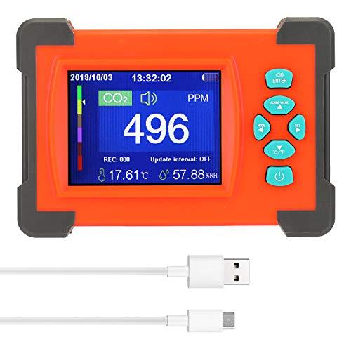 Kecheer Detector de dióxido de carbono, portátil útil medidor de CO2 monitor de calidad de aire con estuche de almacenamiento