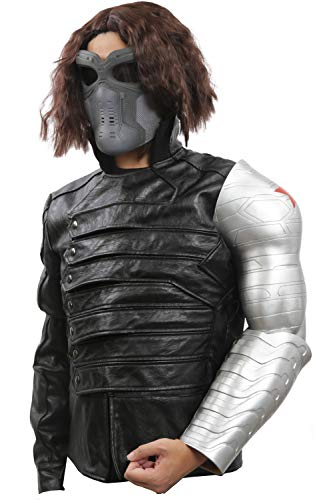 Mesky 2PZ Buckys Arm Cosplay Braccio Winter Soldier PVC Film Accessorio Costume Argento Taglia Unica Artigianali James Barnes Regalo Natale per Adulti