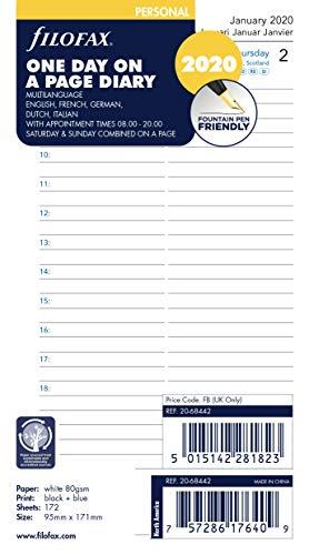 Filofax 000020-68442 - Agenda giornaliera con 5 lingue, 2020