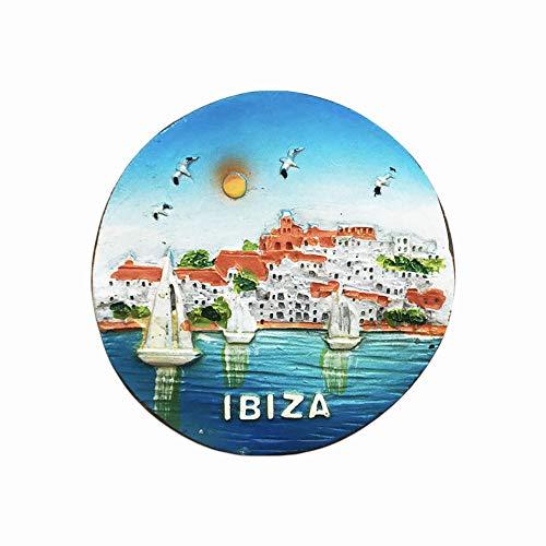 Imán para nevera de Ibiza España en 3D, regalo hecho a mano para decoración del hogar y de la cocina, colección de imanes para nevera Ibiza