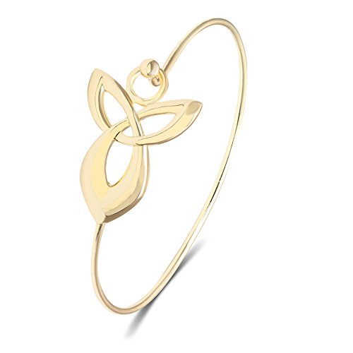 MANZHEN Supernatural Protection Angel Wing Love Bangle Celtic Knot Bangle Bracelet Cuff for Women(Gold)
