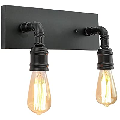 LMSOD Bathroom Vanity Light Fixture, Farmhouse Water Pipe Wall Sconce for Powder Room,Industrial Wall Light for Dressing Room, Bedroom, Entryway (2 Lights)