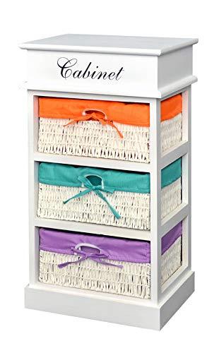 Mesita auxiliar de estilo rústico con tres cestas de colores en naranja, verde y lila