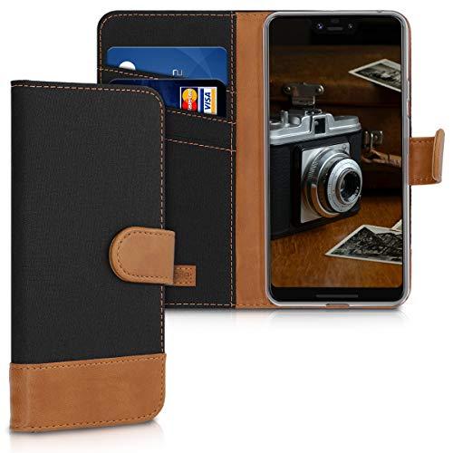 kwmobile Wallet Hülle kompatibel mit Google Pixel 3 XL - Hülle Kunstleder mit Kartenfächern Stand in Schwarz Braun