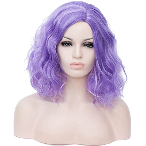 Cying Lin Short Bob Wavy Curly Wig Mixed Purple Wig For Women Cosplay Halloween Wigs Heat Resistant Bob Party Wig Include Wig Cap (Mixed Purple)