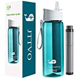JTTVO Filter Water Bottles for Travel,Filtered Water Bottle with 4 Stage Filter Straw BPA Free Water Purifier Bottle for Hiking,Camping,Backpacking