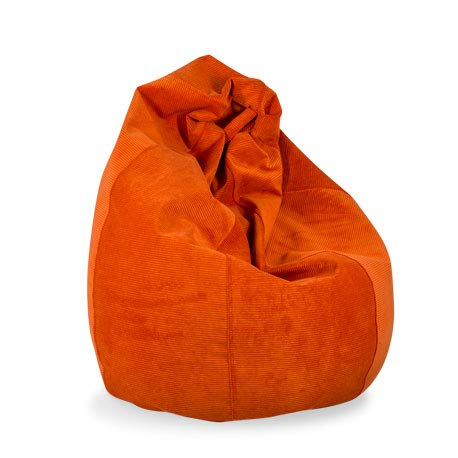 MiPuf - Puff Pera Pana Tamaño XL - 130x80x80 cm - Tejido Alta Resistencia - Doble Costura y Doble Cremallera - Relleno Incluido - Naranja - 4 años de Garantía