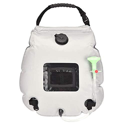 AMEA Tragbare Solar Camping Duschtasche, Solar Beheizte PVC Wassersack Travel Außendusche Mit Abnehmbarem Schlauch Umschaltbarer Duschkopf Faltbares Leichtgewicht,Weiß