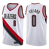 Camiseta de Baloncesto para Hombre, NBA, Portland Trail Blazers #0 Damian Lillard, #00 Carmelo Anthony. Bordado, Transpirable y Resistente al Desgaste Camiseta para Fan (Association b Lillard, M)