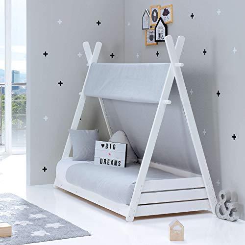 ALONDRA – Camita cabaña Montessori infantil para niños 70x140 completa con textiles. Incluye: toldo, nórdico, estructura casita tipi con somier, textiles gris Carezza 178, sin colchón.
