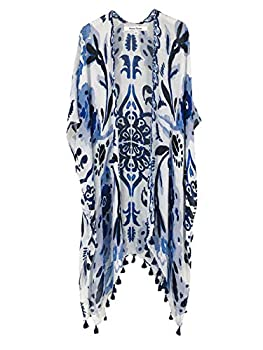 Moss Rose Women s Beach Cover up Swimsuit Kimono Cardigan with Bohemian Floral Print