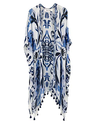 Moss Rose Women#039s Beach Cover up Swimsuit Kimono Cardigan with Bohemian Floral Print