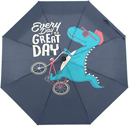 DXZ-Design Paraguas plegable de cierre abierto, lindo dinosaurio en bicicleta, paraguas compacto a prueba de viento para niños, niñas, mujeres y hombres