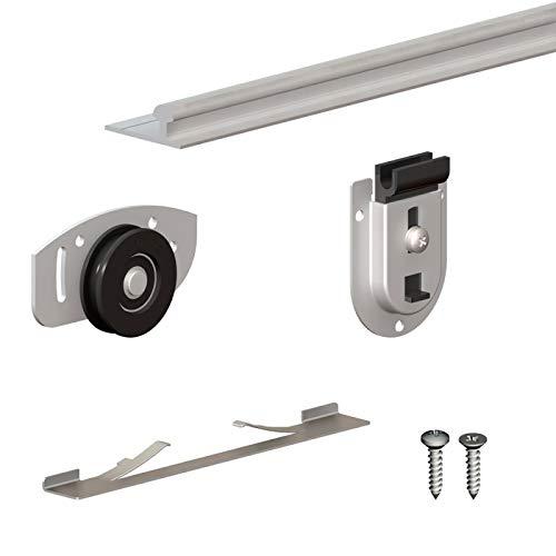 Schiebetürbeschlag SLID'UP 130, Laufschiene 240 cm, 3 Türen bis je 70 kg, für Schränke, Kleiderschränke, Wandschränke