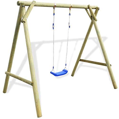 SOULONG - Columpio de Exterior para niños, de Madera de Pino impregnada con certificación FSC, Columpio para Juegos de hasta 50 kg, 154 x 139 x 180 cm