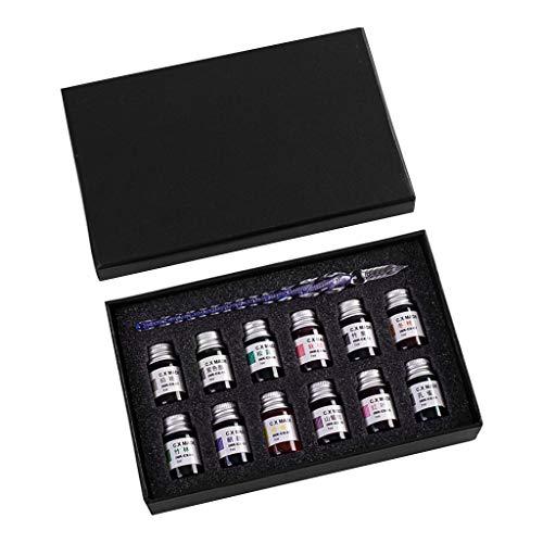 Bhty235 - Juego de bolígrafos de tinta para escritura (12 colores, tinta de cristal embotellada con 1 pluma estilográfica de color azul)