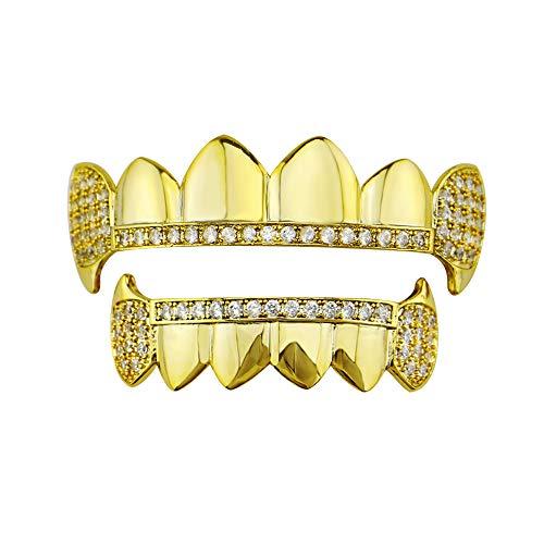 YHDD Zähne Set - Gold Cruz Diamonds Grillz - Vergoldet - Ausgezeichneter Schnitt für alle Arten von Zähnen - Ober- und Untergrillset - Hip Hop Bling Grillz (Farbe : Gold)