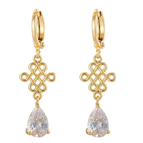 YAZILIND Frauen Luxus-18K Gold überzog chinesischer Knoten Weiß Riss-Tropfen Zirkonia Dangel Ohrringe