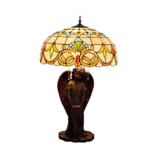 LHQ-HQ Estilo de Tiffany de la vendimia Lámpara de cabecera Ángel barroco arte del vitral lámpara de escritorio de la sala de estudio de la decoración luz de la noche, E27 Lámpara de pie cubierta Tiff