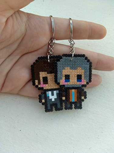 Portachiavi Detroit become human - Hank & Connor - Hama beads/Pixel art