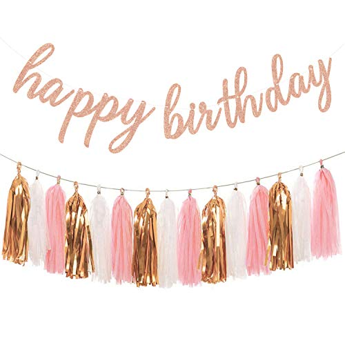 Aonor Rose Gold Birthday Party Decorations - Glittery Rose Gold Happy Birthday Banner and Tissue Paper Tassels Garland for Birthday Decorations