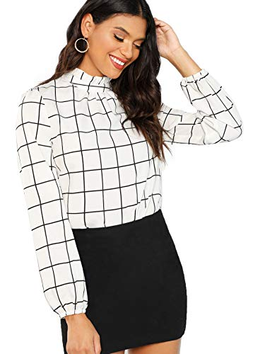 No stretch, maybe a little see through Ruffle collar,button back,and long sleeve top Elegant and Cute ,Cute with shorts or jeans Perfect for Nightout, Party, Workwear,and Daily Wear Please refer to the size measurement below