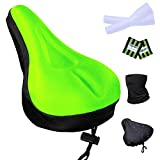 Filmya Gel Bike Seat Cover-Bike Exercise Bike Seat Cushion Cover Bicycle Saddle Pad with Water&Dust Resistant Cover Reflective Band Bandanas for Cycling (Green)