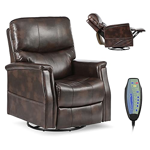 Massage Swivel Rocker Recliner Chair, Leather Reclining Sofa for Living Room, Ergonomic Lounge Chair with Lumbar Heating, Side Pocket & Remote Control. (Leather- Brown)