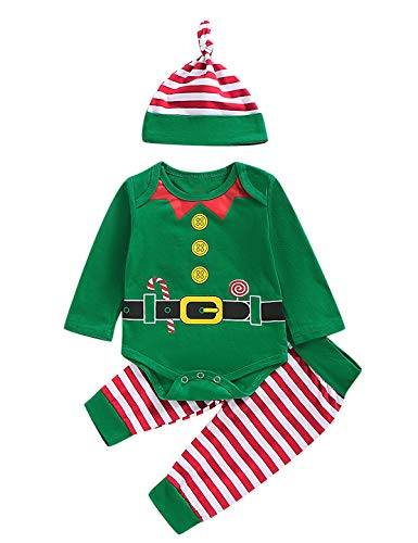 Happidoo 3PCS Baby Boy Girl Christmas Outfit Newborn ELF Long Sleeves Romper with Hat (Green,0-3 Months)