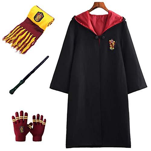 Monissy Kinder Erwachsene Harry Cosplay Kostüm Halloween Umhang Fancy Outfit Set mit Schal Zauberstab Hut Handschuhe Fasching Kinderkostüm für Karneval Verkleidung Party
