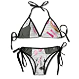 Triángulo Bikini Trajes de baño Negro Vestido de cóctel Inteligente Perfume Maquillaje Bolsa de Embrague Conjuntos de Bikini Traje de baño de Playa Traje de baño