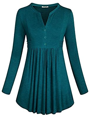 SeSe Code Christmas Blouse Women's Long Sleeve Flare Hem Cute Ruffle Shirts Fashion Slimming Pleated Front Tunic Tops with Button V Neck for Leggings Dark Cyan XXL