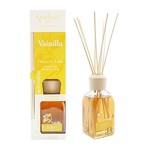 Ambientair Classic. Difusor de varillas perfumadas. Ambientador Mikado aroma Vainilla. Difusor 240 ml con palitos de ratán. Ambientador para Hogar sin alcohol.