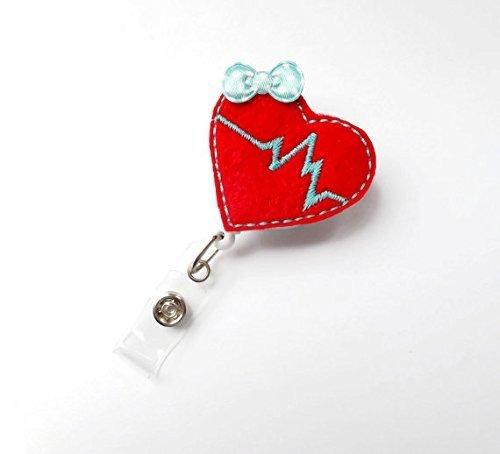 Beating Heart Red and Aqua - Retractable Badge Reel - Cardiac Care Badge - Rn Badge - Nurse Badge Holder - Nursing Badge Clip - Ccu Badge - Alligator Clip Photo #2