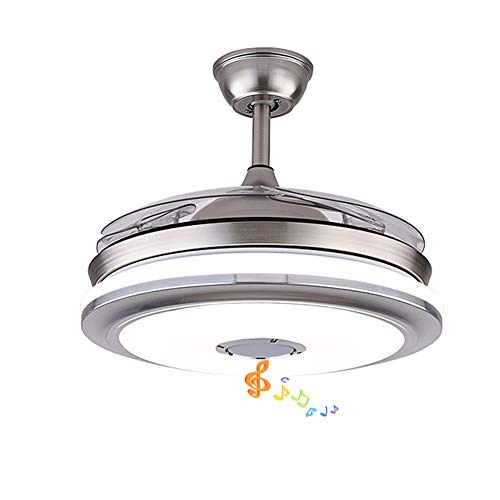 Fandian 42'' Modern Ceiling Fans with Light Smart Bluetooth Speaker Music Player Chandelier 3 Colors 3 Speeds Invisible Blades with Remote Control, Silent Motor with LED Kits Included (42in-Silver1)