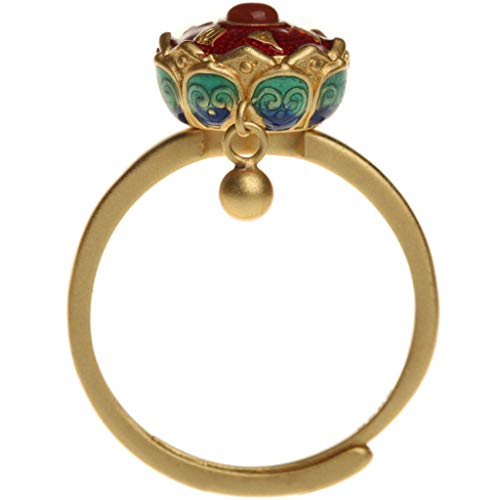 YUYAN - Anello da cocktail rotante in smalto per buddismo e loto con fiori di loto, anello di preghiera tibetana buddista, anello tibetano buddista, anello per preghiere tibetane, per om, per fortuna.