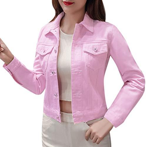 Mujer Casual Chaqueta Vaquera Slim Fit Cazadora De Denim Jeans Abrigos Manga Larga STRIR (L, Rosa)