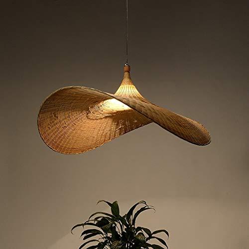 Sospensione sospeso paglia cappello di paglia cappello ciondolo luce Vintage giapponese tessuto e in rattan intrecciato luce Creative Arts principale di bambù di vimini dal rustico ombra onda,90CM