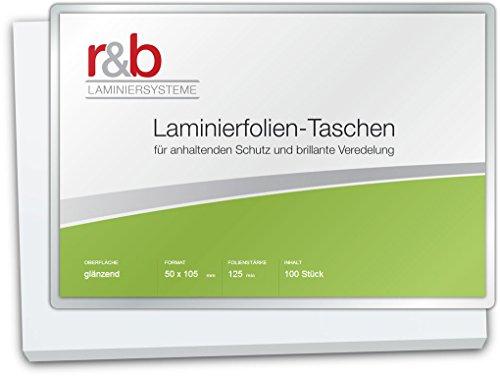 r&b FT-50X105-125 Laminierfolien 50 x 105 mm, 2 x 125 mic für Thekenpreisschilder, 100 Stück