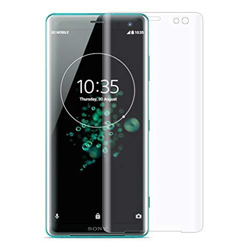 """XunEda Sony Xperia XZ3 6.0"""" Protector de Pantalla, Superficie Arco Cobertura Completa Sin Bordes Blancos Vidrio Cristal Templado Cristal para Sony XZ3 Smartphone (Transparente-1 Pack)"""