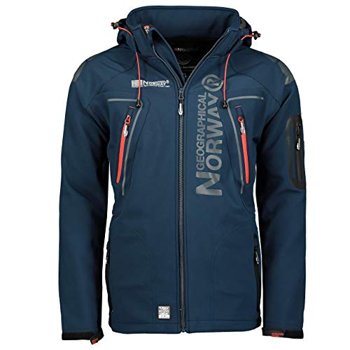 Geographical Norway Techno Softshelljacke Herren, Abnehmbare Kapuze Gr. Large, marineblau