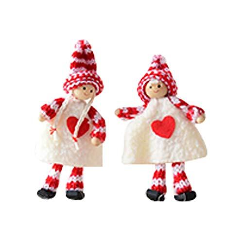 Da.Wa 1 par Pareja Adornos navideños Muñeca de la decoración de la Navidad Decoraciones de Escena Que cuelga Adornos de Navidad 6 * 12cm (A)