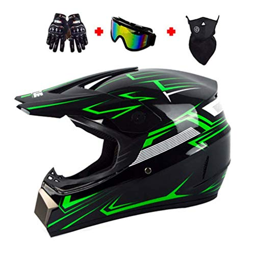 LEENY Motocross Helm, Motorrad Off-Road-Helm Kinder Crosshelme Set mit Handschuhe Maske Brille, Motorradhelm Downhill BMX-Helm Enduro ATV MTB Schutz-Helm für Herren Damen,Grün,XL