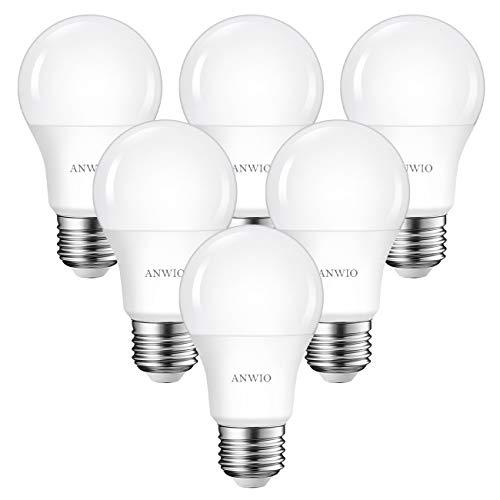 ANWIO E27 Led Lampe Kaltweiß 8W Leuchtmittel 806 Lumen Tropfenform Birnen nicht dimmbar (6er Pack)