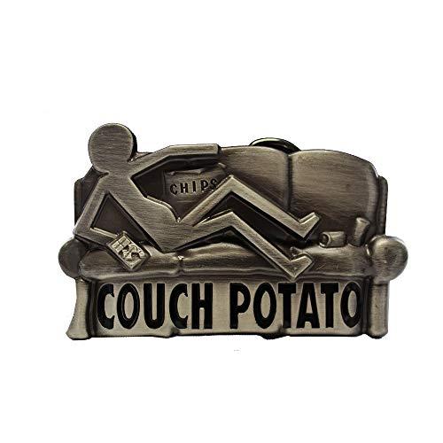 eeddoo® Gürtelschnalle - Couch Potato (Buckle für Wechselgürtel für Damen und Herren | Belt Frauen Männer Oldschool Rockabilly Metall Gothic Wave Rock Biker Western Trucker Casino Skull)