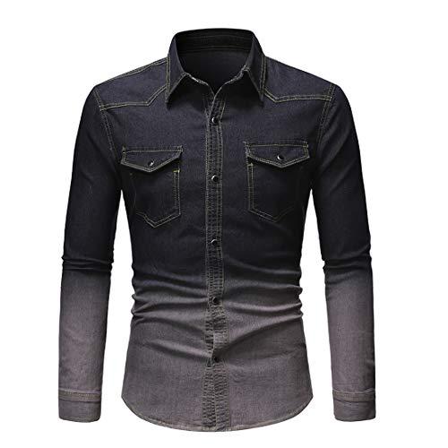 Jeanshemd Herren Western Cowboy Shirt Slim Fit Basic Hemd Langarm Kentkragen, Brusttaschen Vintage Shirt Frühling Und Herbst Boutique Knopfestrickjacke -E-Black L