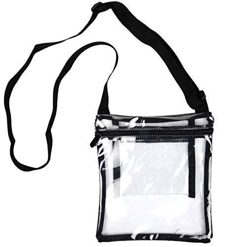 Youngever Clear Cross-Body Purse, Stadium Approved Clear Vinyl Bag, Adjustable Cross-Body Strap, Extra Inside Pocket