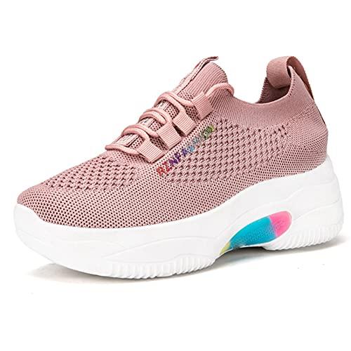 HLDJ Zapatillas De Deporte para Mujer Zapatos para Caminar De Fondo Grueso Zapatillas De Deporte Casuales De Espuma Viscoelástica para El Trabajo De Viaje En El Gimnasio,Rosado,EU36