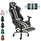 Ferghana Massage Chair for Gaming,PC Computer Chair,Video Game Chair,Gaming Chair,E-Sports Chair,Ergonomic Office Chair with Retractable Footrest and Adjustable Headrest and Lumbar Support(Cool Grey)